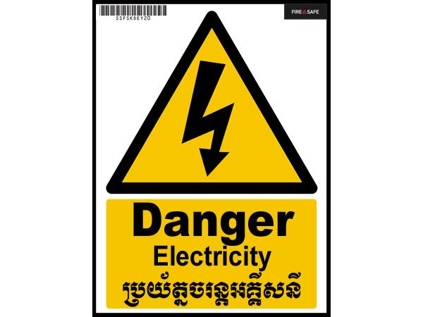 SSFSXDEY20 Danger Electricity 15cmx20cm